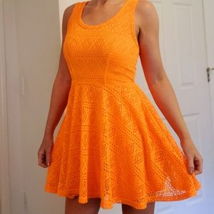 Express Orange Neon Eyelet Skater Mini Dress